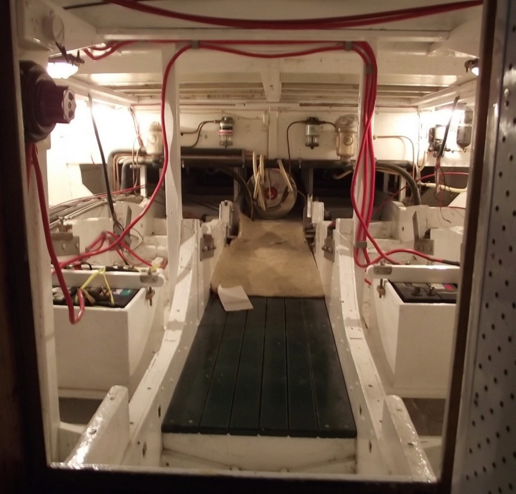 Karrawa -  the engine room under the saloon floor looking aft. All restored and ready for the twin diesels to be re installed